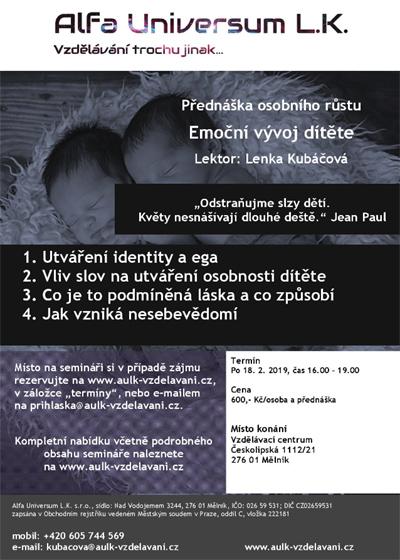 18.02.2019 - Emoční vývoj dítěte - Debatní přednáška / Mělník