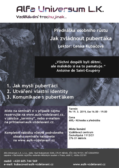 18.03.2019 - Jak zvládnout puberťáka - Debatní přednáška / Mělník