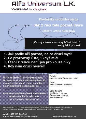 29.04.2019 - Jak z řeči těla poznat lháře - Debatní přednáška / Mělník