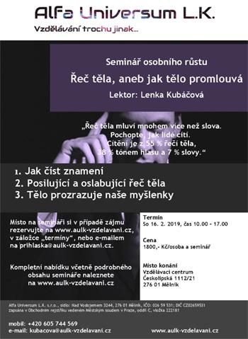 16.02.2019 - Řeč těla, aneb jak tělo promlouvá - Seminář / Mělník