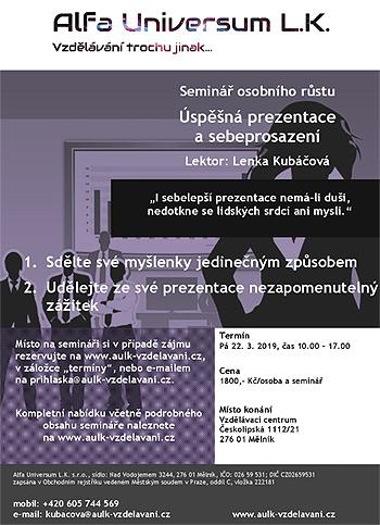 Úspěšná prezentace a sebeprosazení - Seminář / Mělník