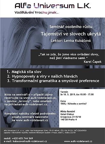 18.05.2019 - Tajemství ve slovech ukrytá - Seminář / Praha