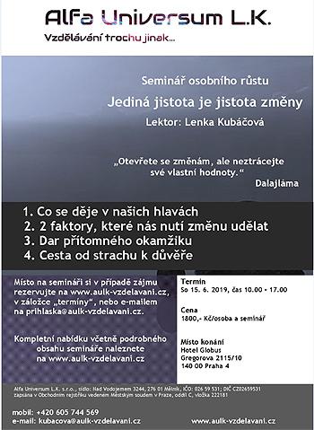 15.06.2019 - Jediná jistota je jistota změny - Seminář / Praha