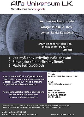 Magie hlasu a slov - Seminář / Mělník