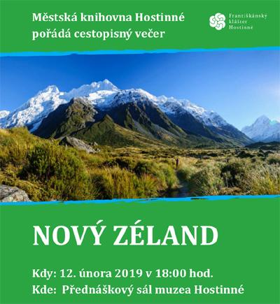 12.02.2019 - NOVÝ ZÉLAND  - Cestopisná přednáška / Hostinné