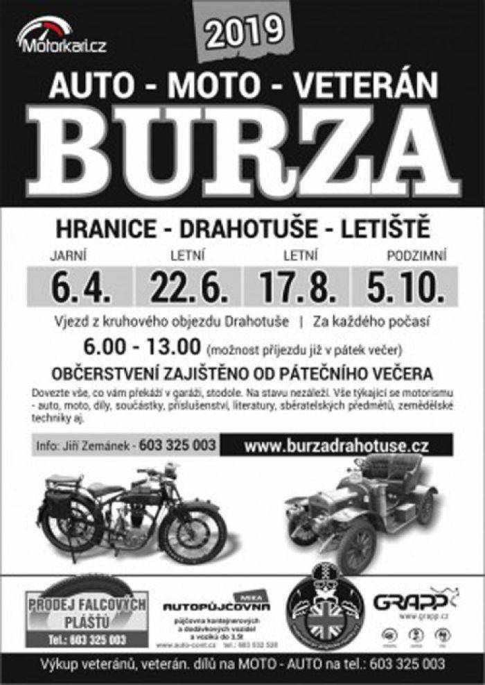 17.08.2019 - Auto-moto-veteran burza 2019 -  Drahotuše