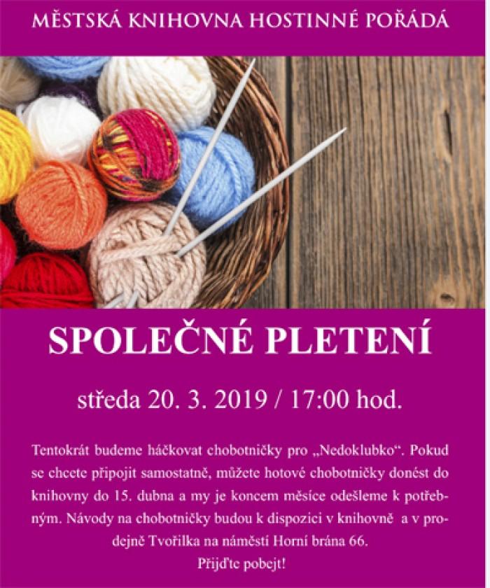 20.03.2019 - Společné pletení - Hostinné
