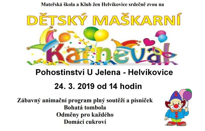24.03.2019 - Dětský maškarní karneval - Helvíkovice