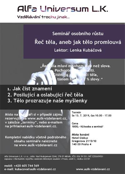 13.07.2019 - Řeč těla, aneb jak tělo promlouvá - Seminář / Praha