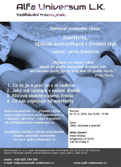 15.06.2019 - Asertivita, způsob komunikace i životní styl - Seminář / Praha