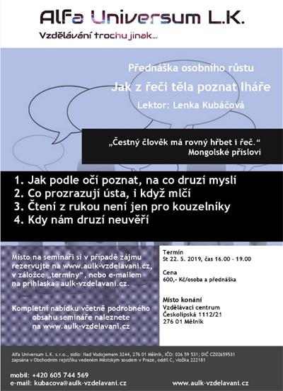 22.05.2019 - Jak z řeči těla poznat lháře - Přednáška / Mělník