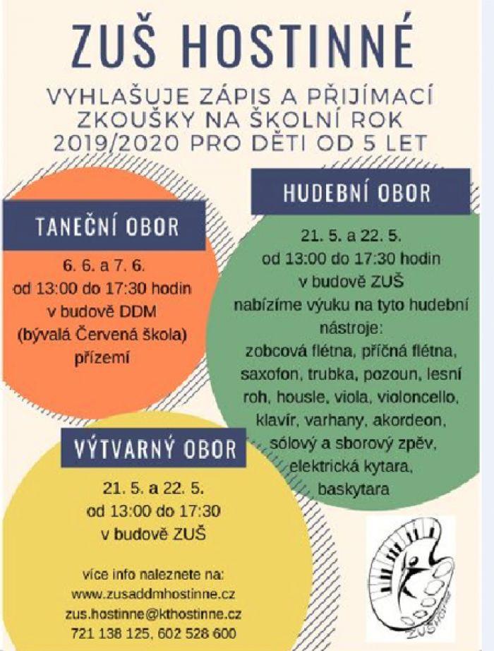 21.05.2019 - Zápis a přijímací zkoušky na ZUŠ - Hostinné