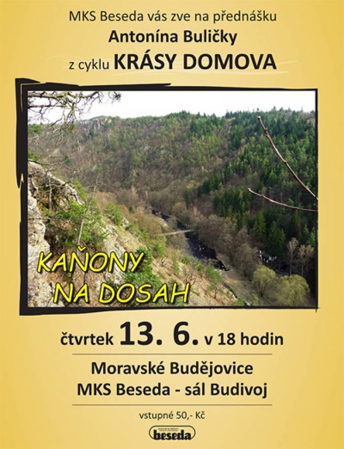 13.06.2019 - Kaňony na dosah - Přednáška / Moravské Budějovice