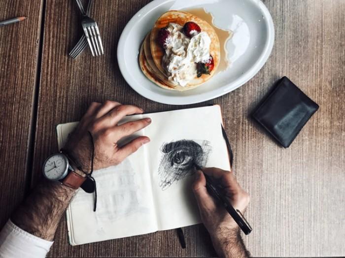 Skicování v Café Záhorský - Praha