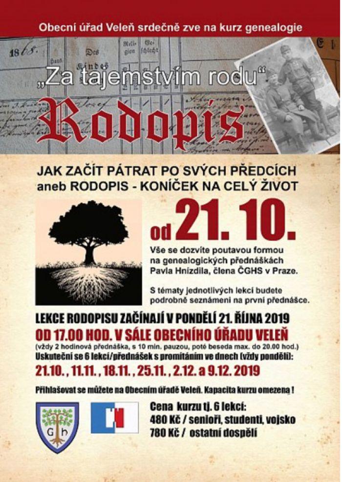 KURZ RODOPISU - první lekce / Veleň