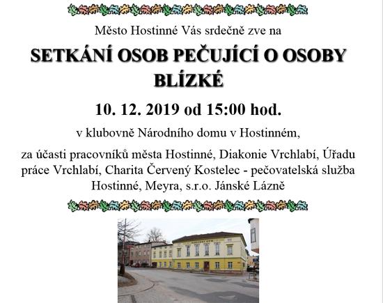 10.12.2019 - Setkání osob pečující o osoby blízké - Hostinné