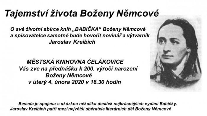 04.02.2020 - Tajemství života Boženy Němcové - Přednáška / Čelákovice