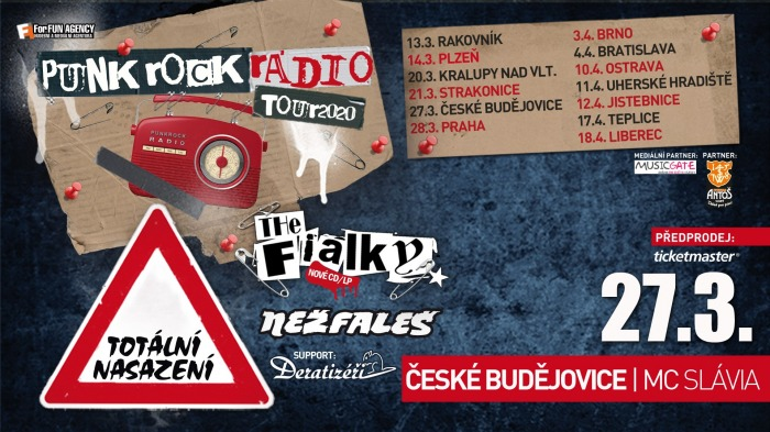 27.03.2020 - Totální nasazení, The Fialky, Nežfaleš - Tour 2020 / České Budějovice