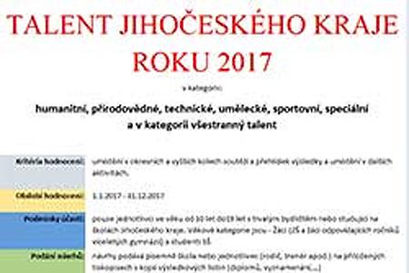 Talent Jihočeského kraje roku 2017