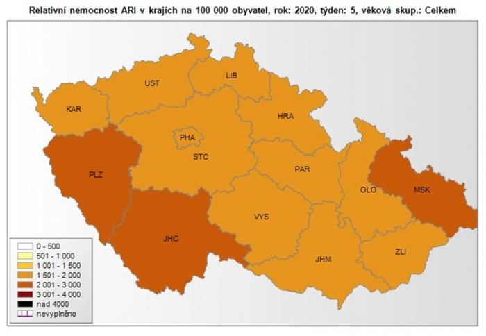 Na území České republiky vypukla plošná chřipková epidemie. Na 100 000 obyvatel je evidováno 1865 nemocných