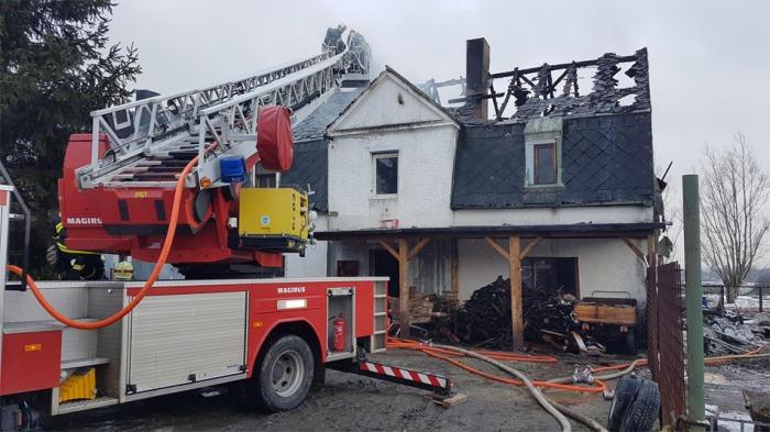 Požár domu v Novém Boru na Českolipsku