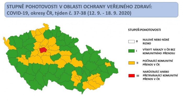 Koronavirový semafor: Praha je dál červená, do oranžového stupně nyní spadá 28 okresů