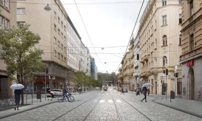 Pražská Revoluční ulice se stane novou městskou třídou. Asfalt nahradí dlažba, přibudou stromy i širší chodníky