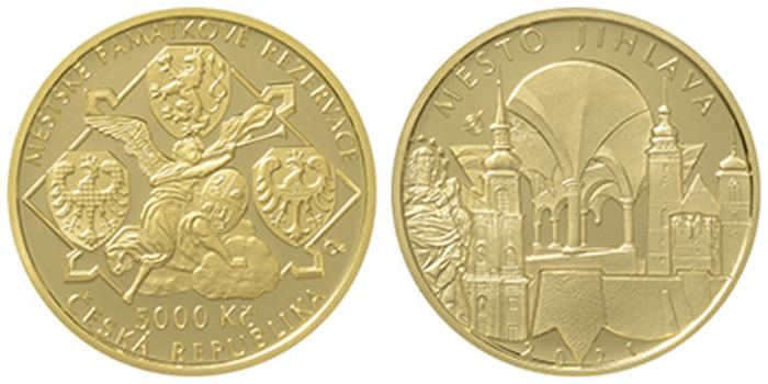 Česká národní banka vydává zlatou minci věnovanou městu Jihlava