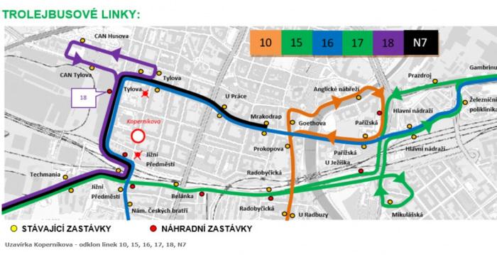 Plzeňská křižovatka Koperníkovy a Bendovy ulice projde opravou. Linky MHD změní trasu i dvě zastávky