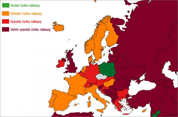 Lotyšsko a Rumunsko budou od pondělí v tmavě červené kategorii podle míry rizika nákazy koronavirem