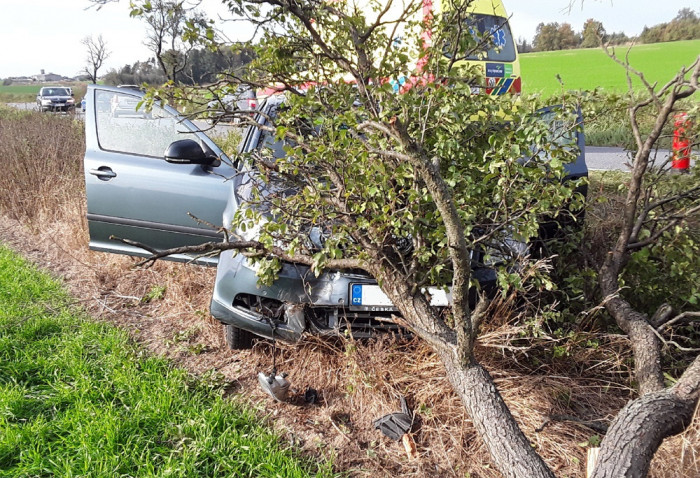 V Třebíči narazil řidič s osobním vozidlem do stromu, se zraněním skončil v nemocnici