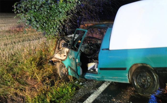 U Tachova začalo hořet osobní auto po nárazu do stromu